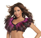 BE WICKED sexy FEATHERS feathered SHEER mesh LOW cut CROP cropped TOP dancewear