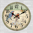 Birds Flower Bell Wall Clock Rustic Retro Home Kitchen Bar Decor Wooden Gift