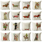"18X18"" Christmas Dog Linen Cushion Cover Throw Pillow Case Sofa Bed Home Decor image"