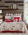 Внешний вид - Red Beige Classic Vintage Christmas Script Plaid Holiday Quilt Set Bedding