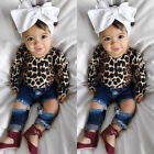 USA Toddler Baby Girls Clothes Shirt Tops Leopard Skirt+Hole