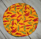 """Red Green Chili Peppers on Yellow 10"""" Round Tortilla Pita Flatbread Warmer"""