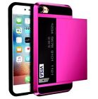 For Apple Phone 5 6 7 8 8plus X Card hybrid wallet tough hard strong case cover