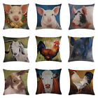 Cow & Pig Printed Cotton Linen Throw Pillow Case Sofa Square Waist Cushion Cover image