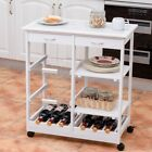 """Rolling Wood Trolley Cart with Storage Drawers Baskets 26.5"""" x 14.5"""" x 29.5"""" US"""