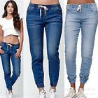 New Women Jeans Elastic High Waist Drawstring Lace up Loose