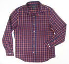 NEW $98 BLOOMINGDALES NAVY BLUE RED PLAID BRUSHED FLANNEL BUTTON DOWN SHIRT