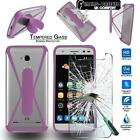 For ZTE Blade Phone Tempered Glass Screen Protector +silicone bumper Stand Case