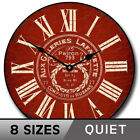 Vintage Galeries Red Background Non ticking  Wood  Indoor Wall Clock