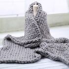 Handmade Thick Knitted Blanket Wool Chunky Line Yarn Merino Throw Home Decor image