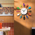 Colorful Cutlery Design Wall Clock Metal Knife Fork Spoon Kitchen Clocks New HOt