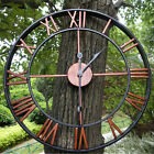 Antique Large Wall Clock Outdoor Indoor 3D Gear Roman Numeral Silent Open Face