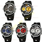Mens Sport Style Quartz Watch Run Dual Time Zone Rubber Strap Water Resistance