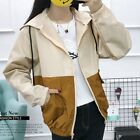 Women's Casual Hooded Coat Ladies Long Sleeve Loose Windbreaker Jacket Top NS