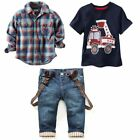 Plaid Shirts Children's Clothing Sets Summer Baby Boy Suit Long Sleeve Car Print
