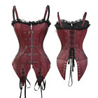 US Womens Corset Bustier Basque Lingerie Overbust Red Party Costume Plus Size