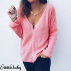 USA Women Low Cut V-Neck Long Sleeve Knit Snap Button Down Cardigan Sweater Tops