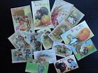 BB06B  Lot of 15 Adorable VINTAGE THANKSGIVING GREETING DIE CUTS 4 crafts making