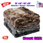 "2018 NEW Luxury Faux Fur Fleece Plush Throw Soft Warm Blankets 440gsm 60"" / 80"" image"