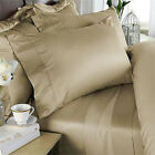 DUVET SET + FITTED SHEET BEIGE SOLID PREMIUM BEDDING ALL SIZES 1000TC EGY COTTON image