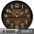 Chestnut Brown  Silent Wall Clock  Battery Operated Whisper Quiet