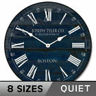 Barnwood Navy Blue Wall Clock, Whisper Quiet, Comes in 8 Sizes