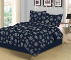 Full/Queen or King Snowflake Quilt Bedding Set Winter Holiday Christmas, Navy