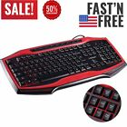 Wired Gaming Keyboard and Mouse Combo Colorful LED Backlit Fusion Black & Red AP