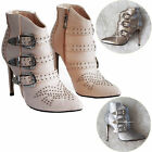 Women's Ladies High Heels Pointed-Toe Stiletto Shoes Ankle Straps Shinny Shoes