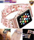 42/38/40/44MM Bling Women Agate Beads Strap Bracelet Band Fr Apple Watch 4/3/2/1 image