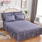 Bed Skirts Mattress Blue Printed Cover Single Twin Fitted Sheet Soft Protector