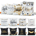 Xmas Cotton Pillow Case Linen Cushion Cover Merry Christmas Home Decoration Gift image