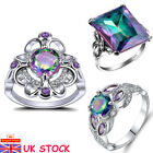 Women 925 Sterling Silver Rainbow Topaz Ring Ladies Wedding Engagement Jewelry