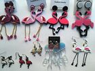 Flamingo Bird Earrings Pink White Gold Silver small large dangle hook post