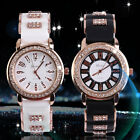 Bling Crystal Golden Women Girl Ladies Quartz Silicone Wrist Watch Strap LK image