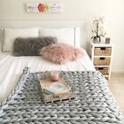 Cotton tube chunky knit blanket Vegan arm knitted polyester / machine washable image