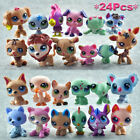 24pcs/pack Littlest Pet Shop Lot Animal Hasbro LPS Figure Toy Dog Lion Cat o