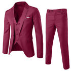 Business Men's 3-Piece Suit Plus Wedding Party Slim Suit Blazer Jacket Vest&Pant