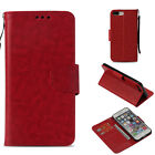 Red Retro Light oil wallet Leather case cover with strap for iphone Samsung LG