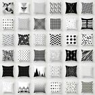 Geometric Cushion Cover Black And White Polyester Throw Square Pillow Case 18