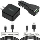 4-in-1 Adaptive Fast Home Car Charger 6ft Long (Two) USB P1G for iPhone