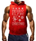 Mens Merry Elfin Christmas Red Sleeveless Hoodie Ugly Sweater Xmas Funny Holiday