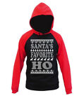 Mens Santa's Favorite HO Raglan Hoodie sweater Ugly Xmas Funny Christmas Holiday