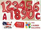 Red 30' Foil Number Balloons Happy Birthday Wedding Party+Free Balloon