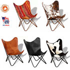 Genuine Leather Butterfly Chair Portable Seat Home Durable Furniture Iron Frame