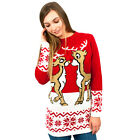 Ladies Xmas Retro Reindeer Jumper Knitted Vintage Thick Sweater Christmas Navy