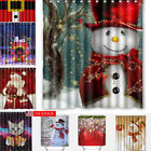 Hot Christmas Home Shower Curtain Waterproof Bathroom Xmas Polyester 12 Hooks US
