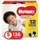 Huggies Snug  Dry Diapers, Size 5, 136 Count, Giant Pack (Packaging May Vary)