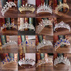 Baroque Bride Princess Rhinestone Crystal Hair Tiara Wedding Crown Veil Headband