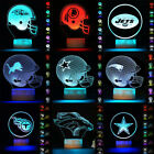 NFL Rugby Football Helmet Cap 3D LED Night Light Table Lamp 7 Color 36 Style $21.01 USD on eBay